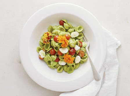 menu_small_Orecchiete_with_Spinach_Pesto__Fresh_Mozzarella__Tomatoes__and_Edible_Flowers_THUMB