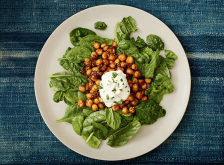 menu_small_Crispy_Tamarind-Ginger_Chickpeas_with_Mustard_Seed__Tahini_Yogurt__and_Spinach_THUMB