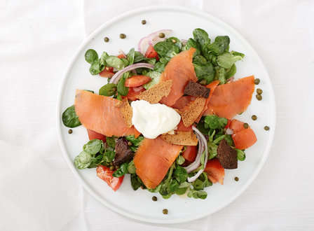 menu_small_Smoked_Salmon_with_Mache_Salad__Bagel_Chips__and_Sesame-Poppy_Seed_Vinaigrette_THUMB