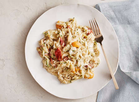 menu_small_Creamy_Zucchini_Orzo_with_Goat_Cheese__Lemon__and_Heirloom_Tomatoes_THUMB